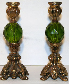 Green and Brass Candleholders