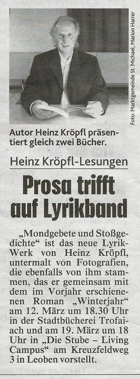 Buchvorstellung Rezension Presseartikel Mondgebete und Stoßgedichte Arovell Verlag Heinz Kröpfl Kronenzeitung Kronen Zeitung Steiermark