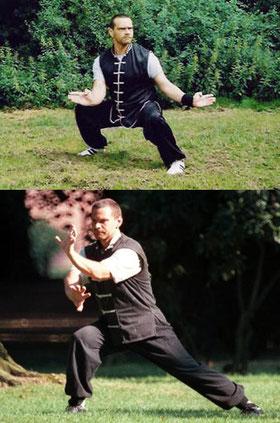 Handtechniken des Süd Shaolin: Sifu Heek mit Buddha Hand aus dem Hung Fut (oben), Tigerklaue aus dem Hung Gar (unten)