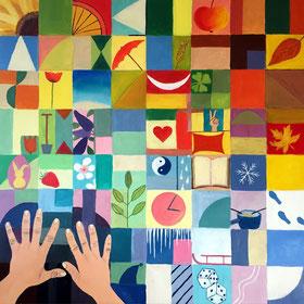 Suchen und finden, 80 x 80 cm, Acryl, Oel auf Leinwand