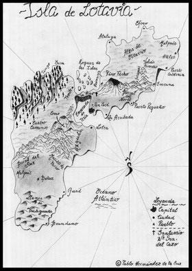Mapa de Lotavia elaborado por el cartógrafo Pablo Hernández de la Cruz