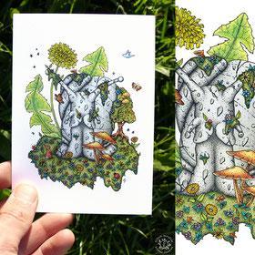 Totem de l'escargot, encre de chine et crayons de couleur. nature, arbre, papillon, champignon, kitsch-paradise, kitsch, paradise, kp