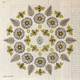 Mandala de la ruche - 30X30 cm