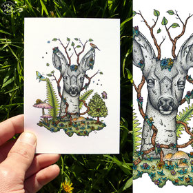 Totem du chevreuil, encre de chine et crayons de couleur. nature, arbre, papillon, champignon, kitsch-paradise, kp