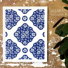 Jasmin en bleu porcelaine - 24X30 cm