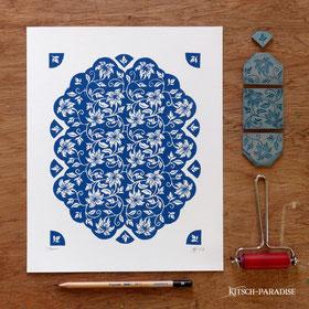 #gravure #linogravure #kitsch #paradise #art #artisan #créateur #artisanat #jasmin #bleublanc #porcelaine