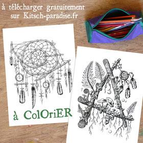 kitsch, paradise, dessin, ink, gratuit, télécharger, utopie, nature
