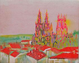 1.-Catedral de Burgos .Mixta sobre tela.Visible luz negra. 36,5x30 cm