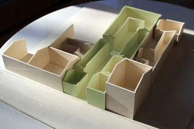 Maquette du projet d'habitat participatif Amassade, rue Lespy à Pau