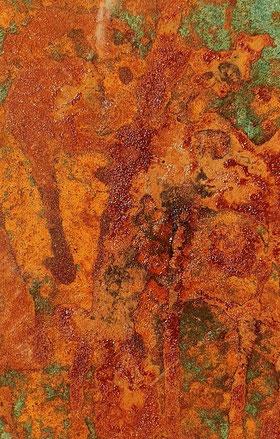 Rostbild 12 /Dezember 19 / 11x 16 gerahmt / Acryl Mischtechnik mit Rost auf Aquarellpapier