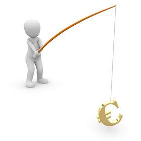 Mann fischt Geld - Aktien zahlen Dividende - mit Dividenden Geld verdienen an der Börse