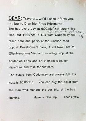 Nota informativa en la oficina de turismo