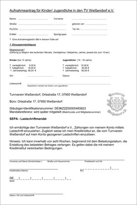 Aufnahmeantrag des Turnverein Weißendorf e.V.