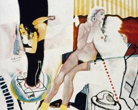 Der alte Freier, Acryl auf Leinen, 100 x 120, 1995