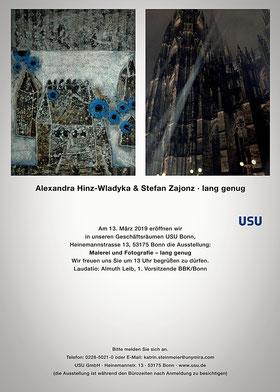 lang genug / Fotografie / in den Ausstellungsräumen USU, Heinemannstr. 13, Bonn / Laudatio: Almuth Leib