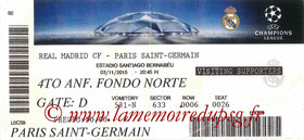 Ticket  Real Madrid-PSG  2015-16