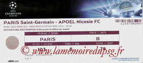 Ticket  PSG-Apoel Nicosie  2014-15