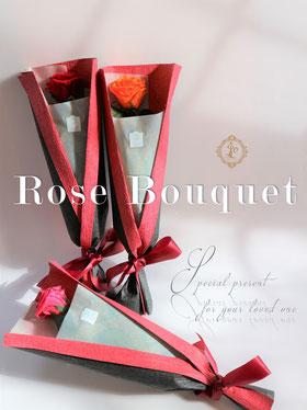 結婚式の両親への贈呈ギフトやプロポーズに贈りたいプリザーブドフラワーステムローズ花束