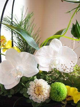 プリザーブドフラワー,胡蝶蘭,コチョウラン,和,竹,お供え,ギフト,白