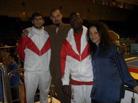 Nicolas, Xiaoma, Robert (médaillé Or en Tuishou) et Consiglia (Médaillée Bronze à l'éventail) - EWUF Championships 2014