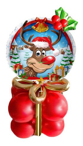 Merry Christmas Ballon Weihnachten Geschenk Deko Dekoration Luftballon Paket Box mit Schleife Mistelzweig Versand Mitbringsel Rentier Rudolph