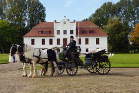 mit Hochzeitskutsche von Kirche in Satow nach Gut Gerdshagen