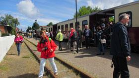 """Freitag: Von Bad Dobera fahren wir mit der Schmalspurbahn """"Molli"""" zum Seebad Kühlungsborn."""
