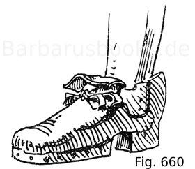 Fig. 660. Schwerer Doppelschuh zum Schutz vor der Planke, einem Lederschuh ähnlich gebildet. Italienisch. Um 1570. Museo Poldi-Pezzoli in Mailand.