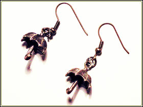 Regenschirm bronze Ohrringe Vintage
