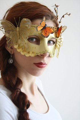 Halloween, masque, masquarade, papillon, orange, jaune, or