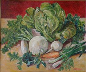 いきいき野菜たち 油彩20号