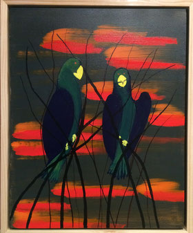 """""""Cacatoes au Crepuscule"""" 44cm x 54cm Multi Media on canvas, pine wood frame $200 (excluding freight)"""