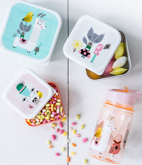 BOITES A GOUTER ET GOURDES ENFANT- LUNCHBOXES AND DRINK BOTTLES PASTELS
