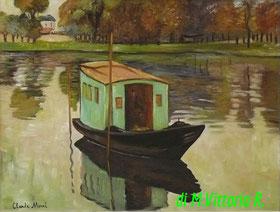 Le bateau atelier, C.Monet, olio su tela cm 30x40,  2014