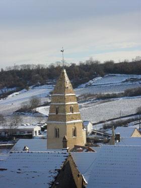 Le clôcher de l'église de Saint-Aubin