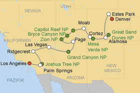 Mietwagenreise von Denver nach Los Angeles