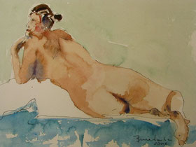Voluptuous Nude 2, Ink/Watercolor Sketch
