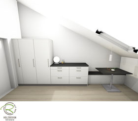 3D-Entwurfsplanung Küche in Dachschräge Anrichte mit Sitzplatz, Küche angepasst mir raumhohen maßangefertigeten Oberschränke für die Dachschräge