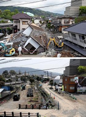 201804地震直後の益城町(写真上)と、復旧工事が進み更地が目立つ現在.jpg