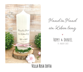 """Hochzeitskerze """"personalisierter Stempel Blätter-Ranke Herz""""- rustikal und natürlich"""