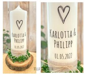"""Hochzeitskerze """"Stempel Herz Pur""""- minimalistisch, klare Linien auf das wesentliche reduziert - die """"Liebe"""""""