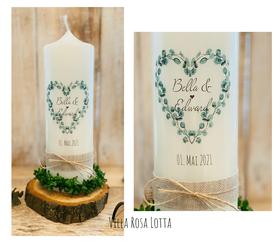 Hochzeitskerze Traukerze EUKALYPTUSHERZ *BELLA* HERZ BLÄTTER Eukalyptus & Oliven Zweigen RUSTIK