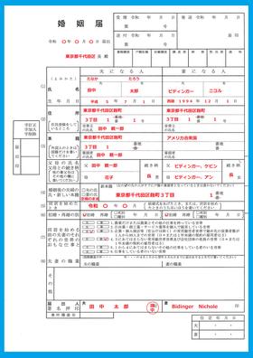 国際結婚の婚姻届の書き方(日本先行)