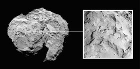 "Der Landeplatz ""Agilkia"" auf dem Kometen ""Tschuri"". (Credit: ESA/Rosetta/MPS for OSIRIS Team MPS/UPD/LAM/IAA/SSO/INTA/UPM/DASP/IDA)"