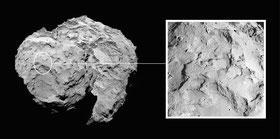 "Der Landeplatz ""Agilkia"" auf dem Kometen ""Tschuri"". (Credit: ESA/Rosetta/MPS for OSIRIS Team MPS/UPD/LAM/IAA/SSO/INTA/UPM/DASP/IDA)"