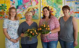 Simone Prell-Kaatz, Petra Huth, Corina Ortner-Heinrich und KiTa-Leiterin Tanja Kraus
