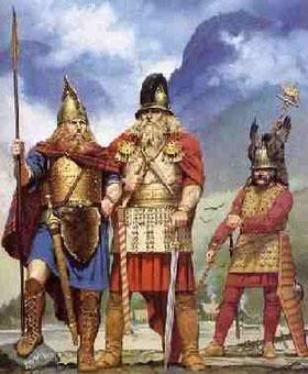 Dibujo que representa a guerreros indoeuropeos