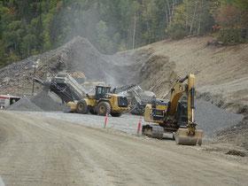 Urlaub in New Brunswick: Strassenbaustelle am Ausgang des Mount Carleton Provincial Parks.