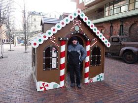 Lebkuchenhaus auf dem Weihnachtsmarkt von Toronto.