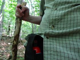 Vorsichtsmassnahmen beim Wandern im Cape Breton Highlands National Park: Bear spray und ein grosser Stock.
